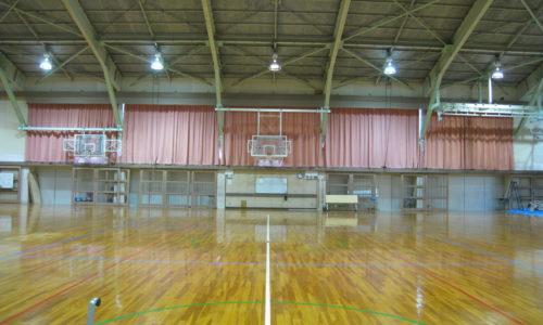 静岡県内高校 体育館暗幕カーテン取付工事