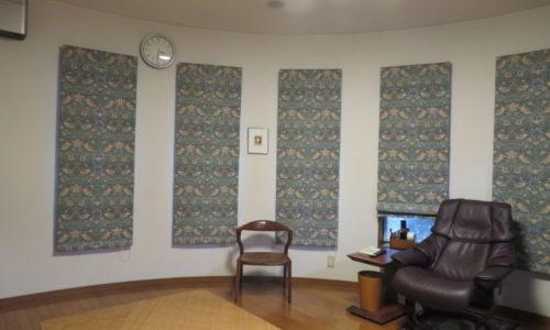 静岡市葵区の住宅 プレーンシェード 5台 取り替えました。ウィリアム・モリス デザインの、いちご泥棒(川島織物セルコン FF1011)